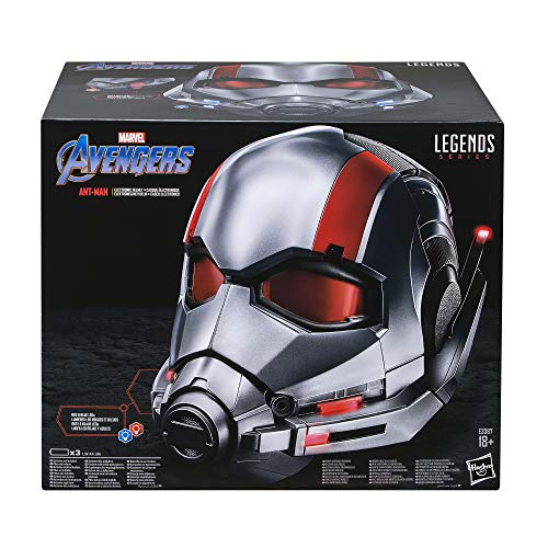 Avengers E3387EU4 Hasbro Marvel Legends Series Ant-Man elektronischer Premium Rollenspiel-Helm mit LED Lichtern (für Erwachsene Fans/Sammler), Silber-rot Serie Led-licht