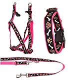 Ein Set - Halsband, Hundegeschirr Step-In, Hundeleine - verstellbar, Zugentlastung, stabil, bequem, weich, Farbe Rosa - TX-ZOO/Zc-PINK