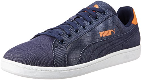 Puma Smash Denim, Baskets Basses Mixte Adulte Bleu - Blau (peacoat-peacoat 01)