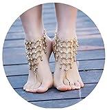 Beydodo 2 Pcs Fußschmuck Vergoldet Damen Fußketten Boho mit Chinesischer Knoten Strandkette Fussketten Gold für Frauen