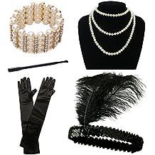 1920er Jahre Zubehör Set Flapper Kostüm für Damen iLoveCos Roaring 20's Kostüm Stirnband Perlen Halsketten Armband Handschuhe Zigarettenspitze