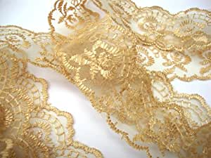 45mm Gold Flat Lace Trimming/Edging - One metre by Cranberry Card Company by Cranberry Card Company