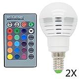 2x E14 RGB LED Globus Farbwechsel Lampe 3W AC85- 265V 16 Farbe mit Fernbedienung Lampe Leuchte Leuchtmittel Für Deko Bar Party KTV ,120° Abstrahlwinkel