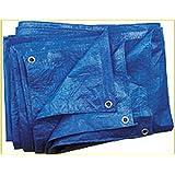 Bleu Bâche 60g/m², 6x 8m tissus Bâche Bâche de protection Bâche à raccord universel