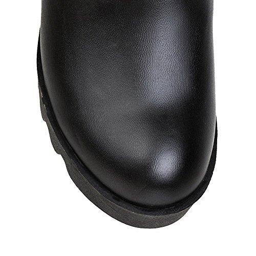AllhqFashion Damen Ziehen Auf Hoher Absatz Mattglasbirne Rein Hoch-Spitze Stiefel Schwarz
