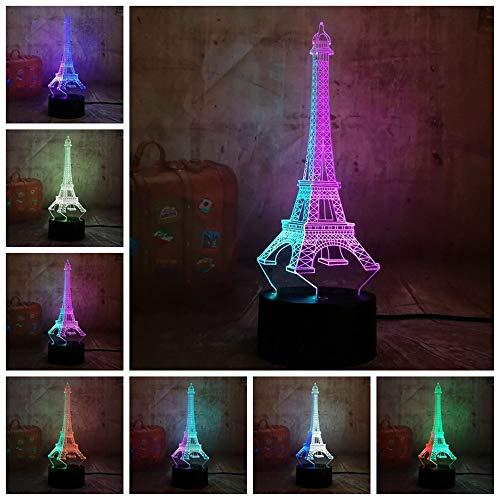 PDDXBB Romantische Schönheit Eiffelturm 3D Led RGB 7 Mixed Dual Farbe Neuheit Bürolampe Nachtlicht Geburtstag Room Decor Sieben Farbe 87 * 87 * 43 Mm (Bluetooth Audio Basis) (Mixed-akkus)