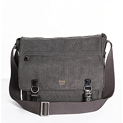 Black Large Unisex Troop London Laptop Compatible Canvas Messenger Shoulder Bag 2 buckles(TRP0207Black)