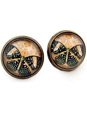 Miss Lovie Damen Mädchen Ohrstecker Schmetterling Ohrringe butterflies Cabochon 12mm Modeschmuck Schwarz Orange
