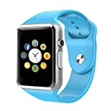 Montre intelligente, écran touch in cultures Bluetooth Poignet avec Caméra/fente de carte SIM/Podomètre pour Android (Fonctions completes) et IOS (Fonctions partielles) (blue)