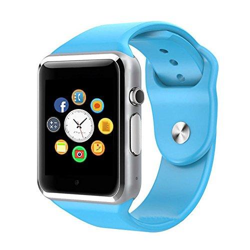Reloj Inteligente, CulturesIn Pulsera con Pantalla Táctil Bluetooth con Cámara/Ranura para Tarjeta SIM/Análisis de Podómetro para Android (Funciones Completas) y para IOS (Funciones Parciales) (blue)