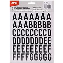 Apli 4425 - Pegatinas, letras, números, signos, 25 mm, color negro