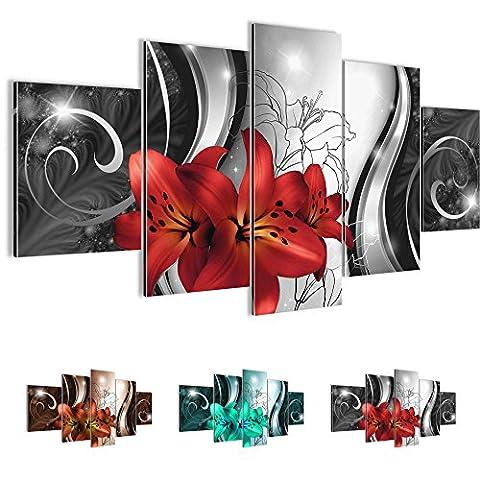 Bilder – Wandbild - Vlies Leinwand - 100 x 50 cm - Lilien Bild - Kunstdrucke – mehrere Farben und Größen im Shop - Fertig Aufgespannt !!! 100% MADE IN GERMANY !!! - Blumen – Abstrakt
