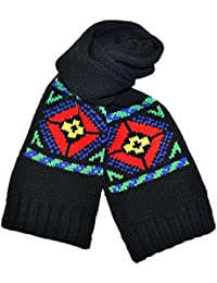 Polo Ralph Lauren Thick Black Wool Scarf with Red, Yellow and Green Fair Isle Pattern