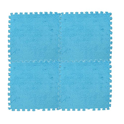 Xshuai Teppich, 25 * 25 cm Kinder Soft Samt Farbe Puzzle Grün Harmlos Ökologische Wohnzimmer Schlafzimmer Teppich (Blau) (Pulver-blau-teppich)