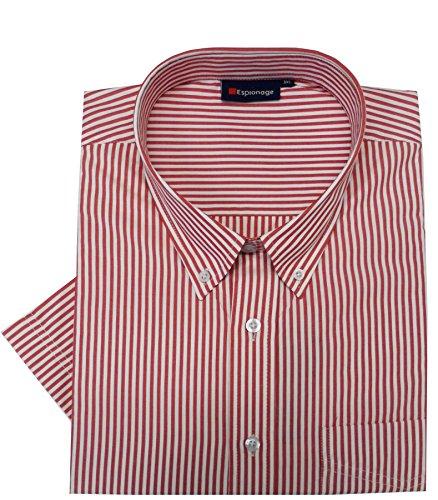 Espionage - Herren Hemd, Baumwollmischung, kurzämelig, gestreift Rot/Weiß