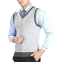 Hombre Chaleco de Suéter Sin Mangas Cuello en V Negocio Punto Chalecos