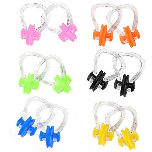 cuitan Nasenklammer Zum Schwimmen Nasenklemme Silikon Unisex 12 Stück 6 Farben Verhindert Wasser in der Nase für Erwachsene und Kinder