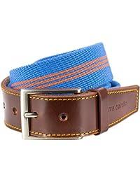 STRETCH Stoffgürtel Textilgürtel Bandgürtel mit Lederendstück / Gürtel Herren Pierre Cardin, 70143 blau-orange
