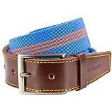 Pierre Cardin STRETCH StoffGürtel TextilGürtel BandGürtel mit Lederendstück/Gürtel Herren, 70143 blau-orange, Größe/Size:110;Farbe/Color:blau