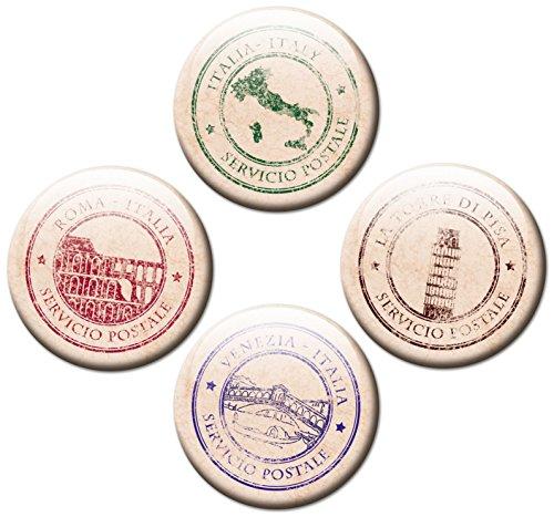 Kühlschrankmagnete Italien 4er Set Stempel Ø 50 mm Länder Magnete mit Motiv Postkarten Liebe (Karten Italien Antike)