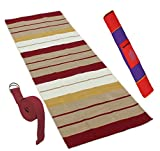 #9: Ryan Overseas Premium light weight Quality Stripes 100% Cotton Handwoven Yoga Exercise Mat,Strap,Matbag Combo Offer with Amazing Pricing- 62 x 184 cm
