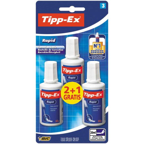 Tipp-Ex Rapid Correction Fluid (Value Pack of 2, Plus 1 Free)