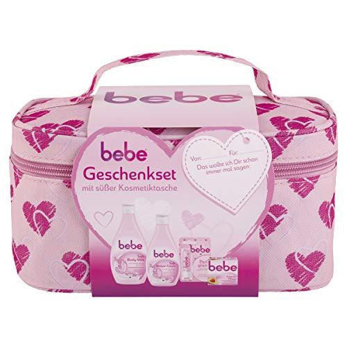 bebe Geschenkset mit Kosmetiktasche, Bodylotion (400 ml), Duschgel (250 ml), Gesichtscreme (50 ml), Lippenpflegestift, Winterset für trockene Haut 1er Pack(1 x )