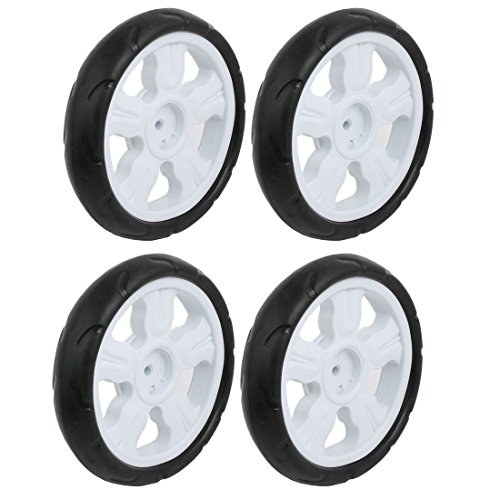 Sourcingmap 4pz 190mm ametro plastica ruota singola passeggino puleggia rullo laminazione bianco 8x25mm