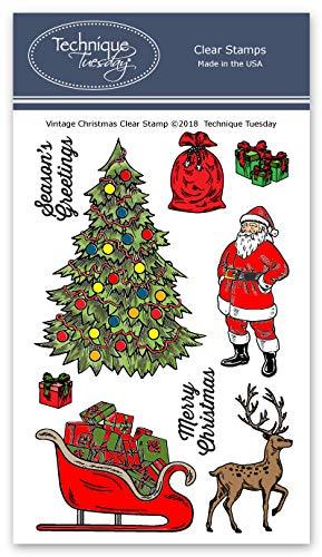 Vintage Christmas Clear Stamps - Christmas Stamps - Photopolymer Stempel - Clear Rubber Stamps - Stamps für Karten machen (Scrapbook-papier Inspirierende)