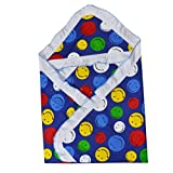 #3: Guru Kripa Baby Products™ Presents New Born Baby High Quality 100% Cotton Soft To Baby Delicate . Skin Cartoon Print Hooded Chaddar Cum Odddna Wrapping Wrapper Sheet Double Layer Baby Sleeping Cotton Sheet (Nevy Blue Smiley)