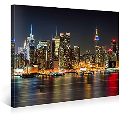 MANHATTAN NIGHT LIGHTS - Premium canvas art print Wall-Deco - XXL Giclee Canvas Print, Wall Art Canvas Picture, Canvas picture stretched on a frame, Canvas image in High Definition