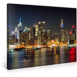 Impression Giclée sur Toile en Grand Format – ILLUMINATED MANHATTAN NEW YORK – 100x75cm – Photo sur Toile de Tendue sur Châssis en bois – Tableau Artistique Contemporain – Image Déco d'Art Murale Prêt à Accrocher