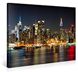 Impression Giclée sur Toile en Grand Format - ILLUMINATED MANHATTAN NEW YORK - 100x75cm - Photo sur Toile de Tendue sur Châssis en bois - Tableau Artistique Contemporain - Image Déco d'Art Murale Prêt à Accrocher...