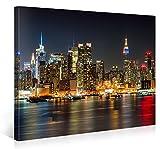 MANHATTAN NIGHT LIGHTS – Premium canvas Art Print Wall Decor – 100x75cm XXL Giclee Canvas Print, Wall Art Canvas Picture, Canvas picture stretched on a frame, Canvas image in High Definition - Gallery of Innovative Art - amazon.co.uk