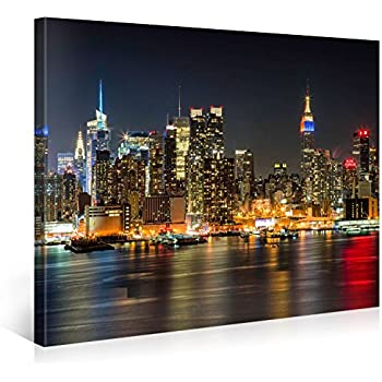 Manhattan night lights premium canvas art print 40x30 inch large new york cityscape wall