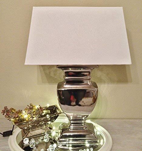 Hampton Optik (DRULINE Tischlampe Silver Lady Tischleuchte Nachttlampe Weiß 30,5 cm x 43 cm)