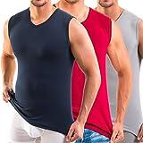 HERMO 3050 Lot de 3 Business Shirt Homme avec col V, Maillot de corps en 100% coton d'Europe (Tank Top), Taille:3 (M), Couleur:Mix m/rubis/g