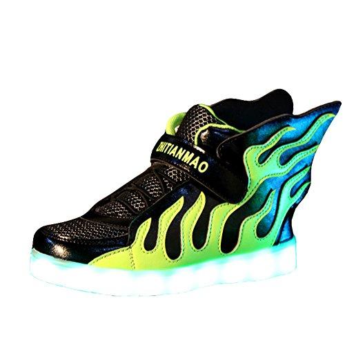 O&N LED Schuhe Kinder Jungen Maedchen Bunte LED leuchtet Sportschuhe Sneakers USB Aufladen athletische Schuhe mit Fluegel