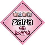 Pancarte «Bébé à bord» pour petite fille prénommée Zara - Idée de cadeau de naissance