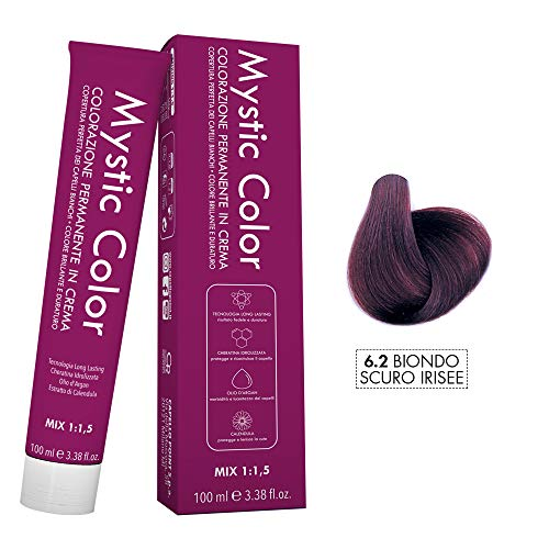 Mystic color - biondo scuro viola 6.2 - colorazione professionale permanente in crema con olio di argan e calendula - tinta per capelli long lasting - 100ml