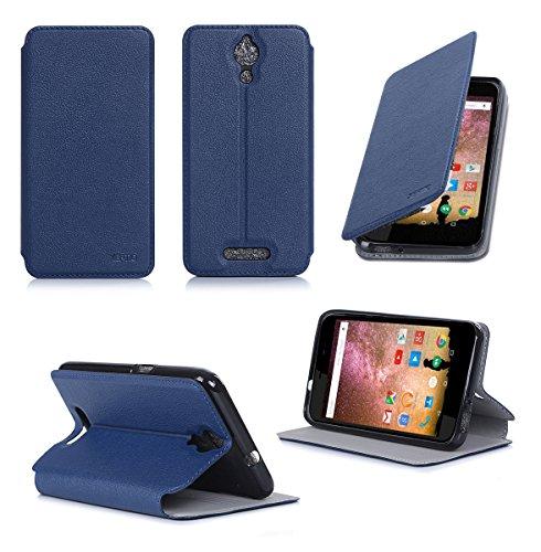 Ultra Slim Tasche Leder Style Archos 50 Power 4G Hülle blau Cover mit Stand - Zubehör Etui Archos 50 Power Flip Case Schutzhülle (PU Leder, Blue) - XEPTIO accessoires 2014/2015