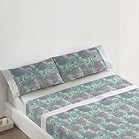 Burrito Blanco - Juego  de sábanas 406 Verde para cama de 150 x 190/200 cm.