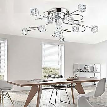 L gant moderne plafonnier cristal fleurs et m tal for Lampe de plafond pour chambre