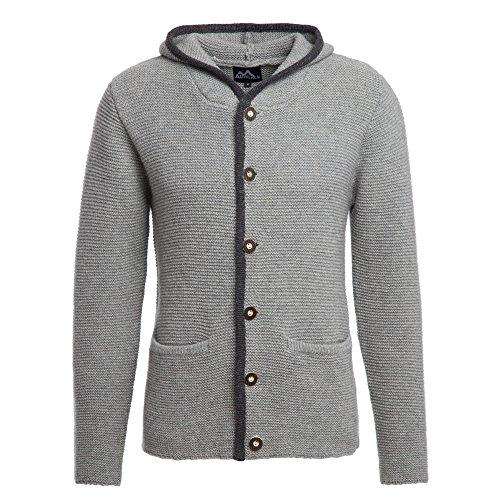 ALMBOCK Trachten Jacke Herren grau | Trachtenjacke mit Kapuze aus flauschiger und atmungsaktiver Lammwolle | Trachten Jacke Herren - Trachtenweste 54