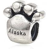 """Plata esterlina de huellas de Hoobeads """"Alaska Encanto Abalorios de rosca Tornillo encaja Chamilia pulseras de estilo europeo"""