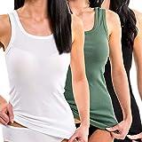 HERMKO 1325 3er Pack Damen Longshirt ideal für drüber und drunter (Weitere Farben), Größe:40/42 (M), Farbe:Mix w/s/o