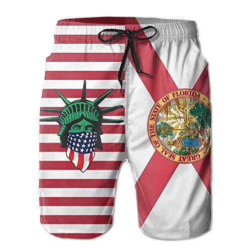 USA Florida Flagge Masked Liberty Modische Herren Strand Shorts Board Badehose. L - Liberty Vintage Shorts
