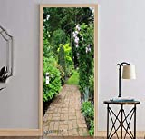 XIAOXINYUAN DIY Green Tree Stein Straße 3D Tür Aufkleber PVC Wasserdichte Türen Poster An Der Wand Aufkleber Aufkleber Für Zimmer Schlafzimmer Home Decor