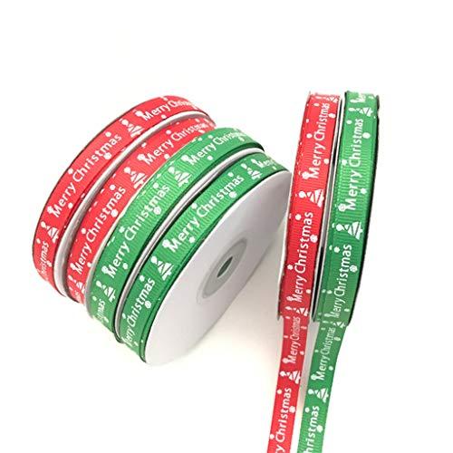 Gudelaa 2 STÜCKE Frohe Weihnachten Muster Band, Geschenk Wrap Seil, Box Krawatte (Rot + Grün)