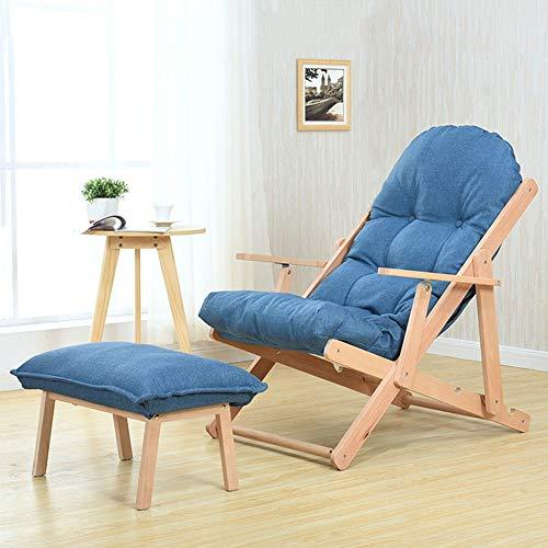 Massivholz-gestell Mit Fußstütze (Freizeit Lounge Stuhl Mit Fußstütze Massivholz Mittagspause Liege Klappbare Rückenlehne Stuhl Verstellbar Faule Sofa Stuhl Daunenstühle for Wohnzimmer Balkon Schlafzimmer Schlafsaal (Color : Blue))